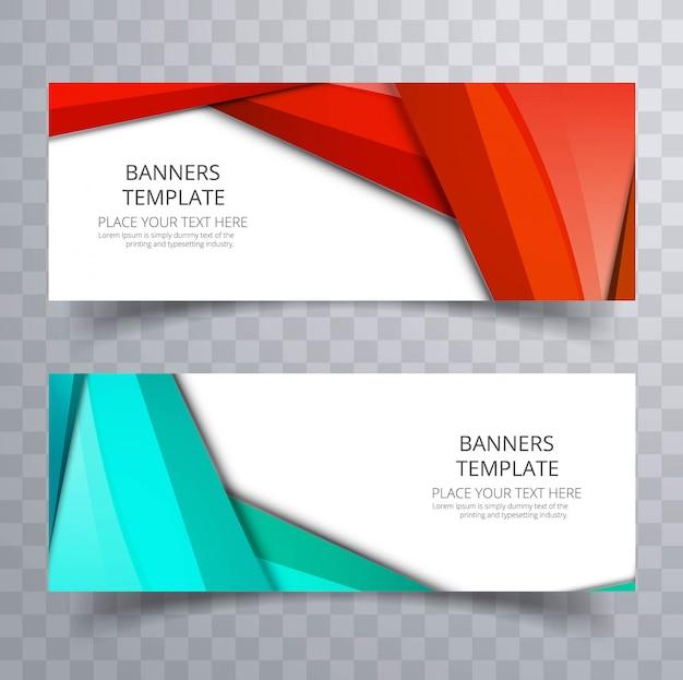 Banner colorido moderno conjunto com onda de cabeçalho