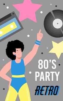 Banner colorido para festa discoteca retrô dos anos 80 com desenhos animados.