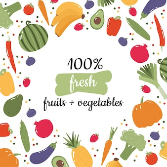 Banner colorido para mercearia ou mercado de fazendeiros com frutas e vegetais desenhados à mão