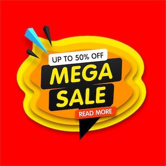 Banner colorido para ofertas especiais e mega vendas