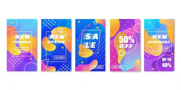 Banner colorido vertical na moda para comércio em lojas