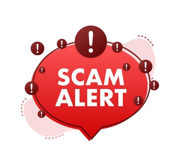 Banner com alerta de scam vermelho sinal de atenção ícone de segurança cibernética adesivo de sinal de alerta de cuidado