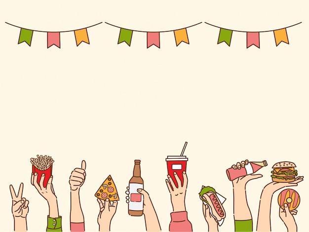 Banner com as mãos segurando bebidas e lanches, fundo conceitual de festa