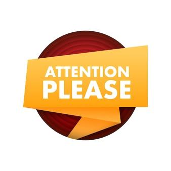 Banner com atenção, por favor amarelo atenção, sinal de ícone sinal de perigo de exclamação