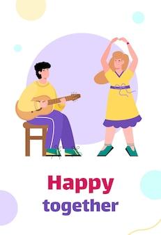 Banner com casal criativo feliz juntos e envolvidos com arte, cartoon plana. modelo de plano de fundo do cartão com homem tocando guitarra e mulher dançando.