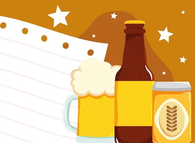 Banner com cerveja e folha de papel