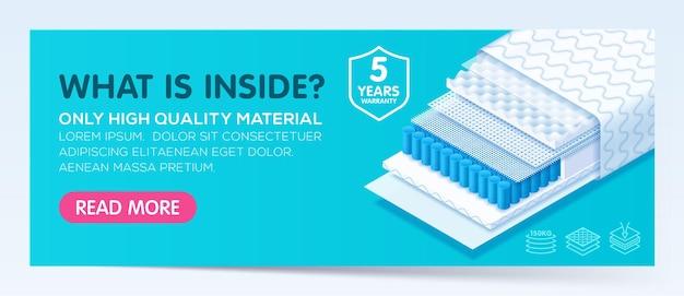Banner com colchão ortopédico confortável de materiais modernos de alta qualidade