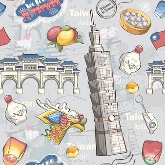 Banner com comida, itens e atrações tradicionais de taiwan