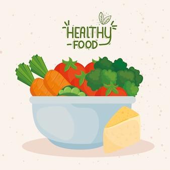 Banner com comida saudável na tigela, conceito de comida saudável