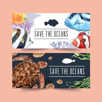 Banner com conceito de peixe e tartaruga, ilustração de cor de contraste