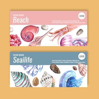Banner com conceito sealife, modelo de ilustração com tema pastel.