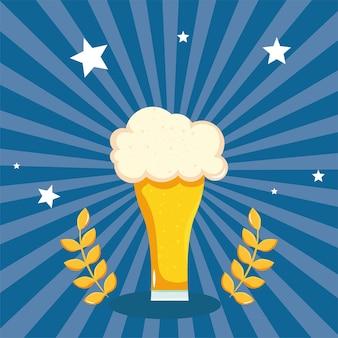 Banner com copo de cerveja com espuma