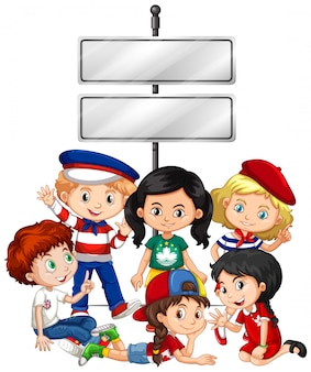 Banner com crianças e sinal