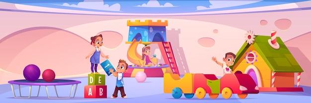 Banner com crianças no playground no banner do jardim de infância