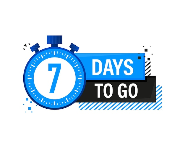 Banner com cronômetro de sete dias para ir, banner com emblema azul