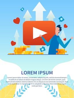 Banner com curso de treinamento on-line de publicidade de homem