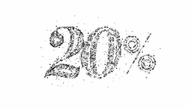 Banner com desconto de venda de partículas com 20% de desconto. desconto na etiqueta de preço da oferta. ilustração em vetor etiqueta moderna.
