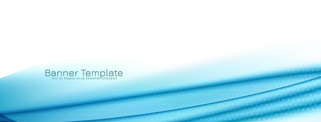 Banner com desenho de onda azul moderno e elegante