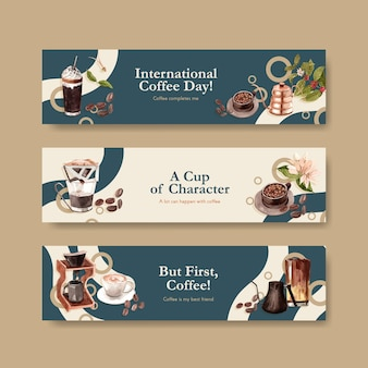 Banner com design de conceito de dia internacional do café para propaganda e marketing de aquarela