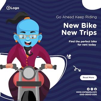 Banner com design de continue andando de bicicleta, novo modelo de viagens