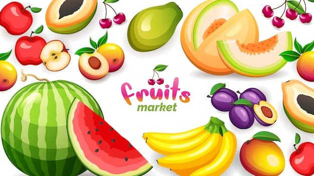Banner com diferentes frutas tropicais em fundo branco, ilustração em grande estilo