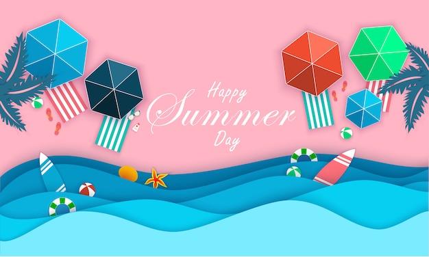 Banner com elementos de verão