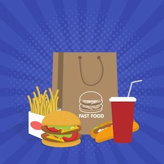 Banner com fast food com ilustração vetorial de cola, hambúrguer e batatas fritas