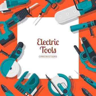 Banner com ferramentas de construção elétrica