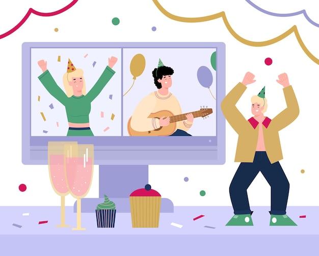 Banner com festa virtual de aniversário de internet online em quarentena