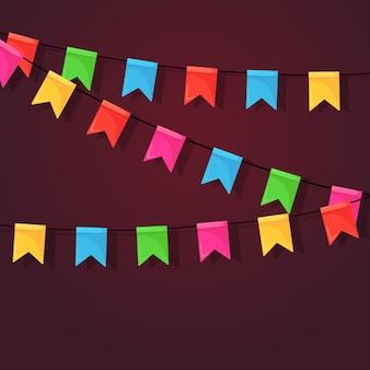 Banner com festão de bandeiras e fitas do festival de cores, estamenha.