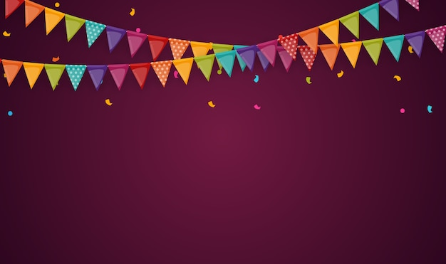 Banner com festão de bandeiras e fitas. fundo de festa de férias para festa de aniversário, carnava.