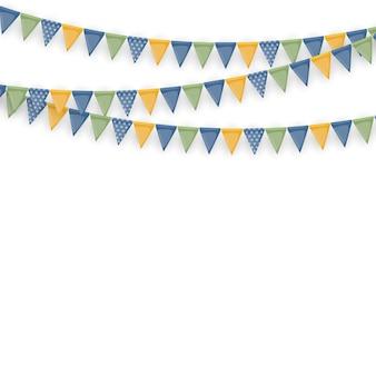 Banner com festão de bandeiras e fitas. fundo de festa de férias para festa de aniversário, carnaval isolado no branco.