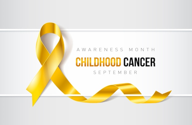 Banner com fita realista de conscientização do câncer infantil. modelo de design para revistas de sites