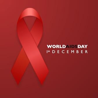 Banner com fita vermelha de conscientização da aids. sida dia conceito.