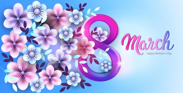 Banner com flores do dia da mulher, 8 de março