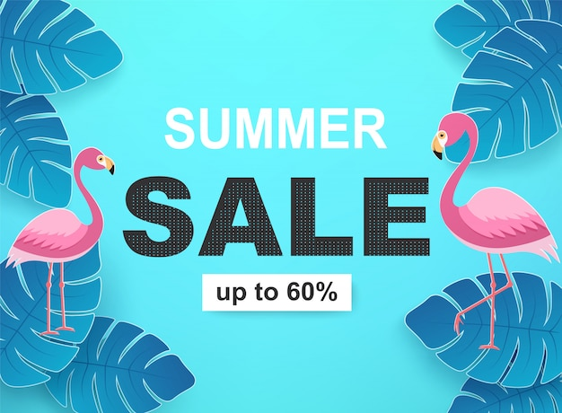 Banner com folhas tropicais e flamingos nas cores azuis. fundo de venda de verão.