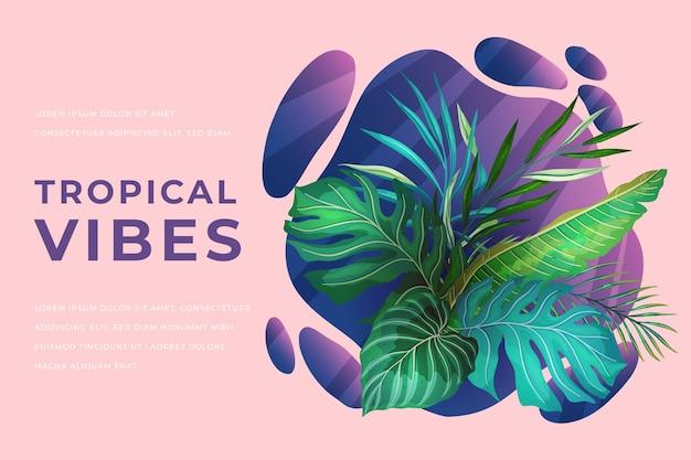 Banner com folhas tropicais exóticas