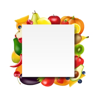 Banner com frutas e legumes