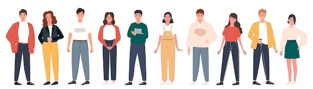Banner com grupo de diversas pessoas felizes em pé juntos em branco