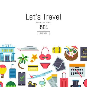 Banner com ilustração de fundo de elementos de viagem plana com lugar para texto