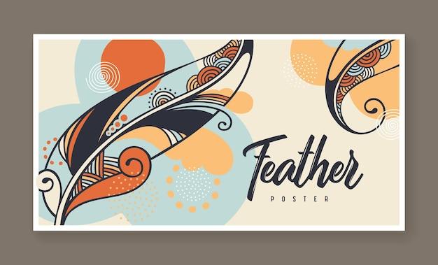 Banner com ilustração decorativa vetorial de penas