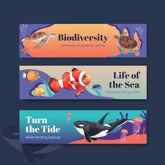 Banner com ilustração em aquarela de design de conceito de vida marinha