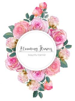 Banner com ilustração vetorial de rosas