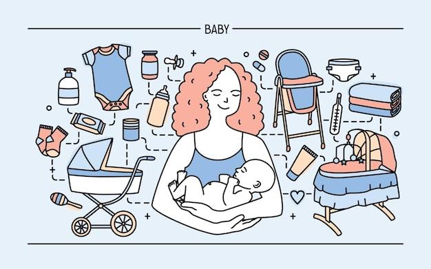 Banner com linda mãe sorridente segurando filho recém-nascido rodeado de produtos e itens para bebês infantis. paternidade, maternidade, assistência neonatal e enfermagem. ilustração colorida do vetor no estilo de linha de arte.