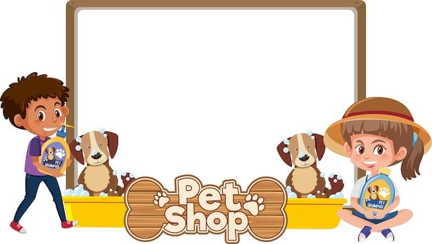 Banner com logotipo de criança, cachorro fofo e pet shop isolado no branco
