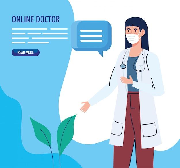 Banner com médico feminino usando máscara facial