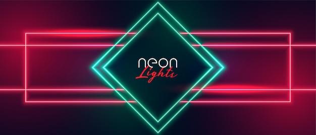 Banner com moldura de diamante com luz neon vermelha