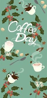 Banner com o dia do café de inscrição. atributos do café. gráficos.