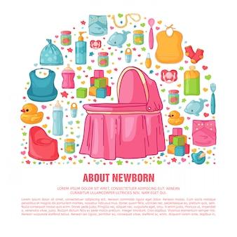 Banner com padrão de infância. equipe recém-nascida para decoração de folhetos. modelos de design para cartão, convite com roupas, brinquedos, acessórios para chá de bebês do sexo feminino. .