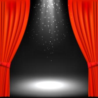 Banner com palco de teatro e cortina de teatro vermelho.
